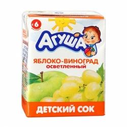 Сок Агуша яблоко-виноград с 6мес. 0.2л