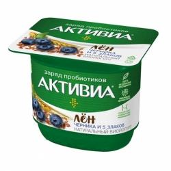 Йогурт Био Активиа 2,9% черн-злаки-лен 150г