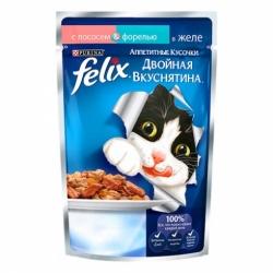 Felix для взрослых кошек лосось/форель в желе кусочки 85г