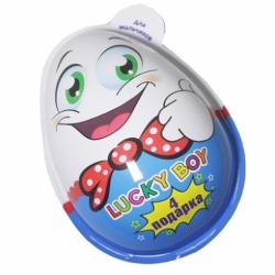 Яйцо подарочное Лаки Бой 4подарка для мальчика 40г