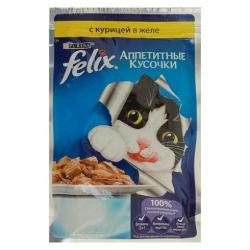Felix для взрослых кошек курица в желе 85г