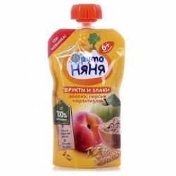 Пюре ФрутоНяня яблоко персик злаки 130г