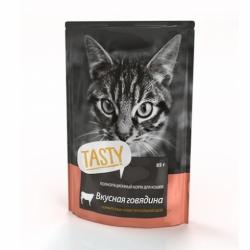 Tasty для кошек с говядиной в желе 85г