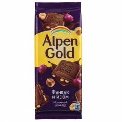 Шоколад Alpen Gold мол.фундук/изюм 90г